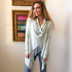 Fringe Wrap Front Sweater by By Together at Charm Boutique