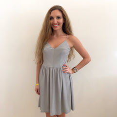 Silver Skater Dress by Sadie and Sage at Charm Boutique