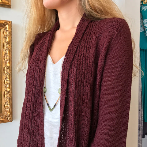 Wine Cable Knit Cardigan