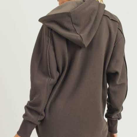 Longline Zip Up Coffee Hoodie