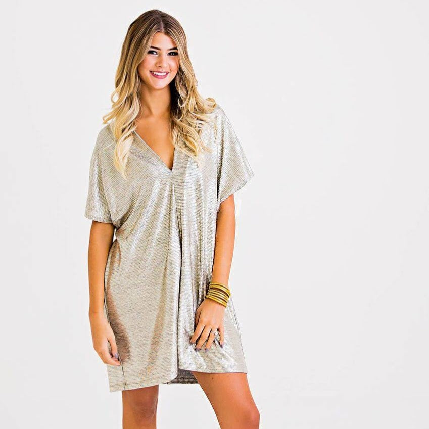 Metallic Party Dress from Karlie at Charm Boutique in Gulf Shores, Alabama