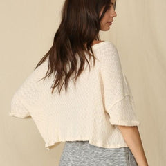 Quarter Sleeve Rib Knit Wide Neck Top