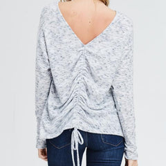 Scrunchy Grey Sweater from Papermoon at Charm Boutique in Gulf Shores