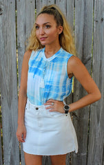 Tie Dye Wrap Sleeveless top by Karlie at Charm Boutique in Gulf Shores