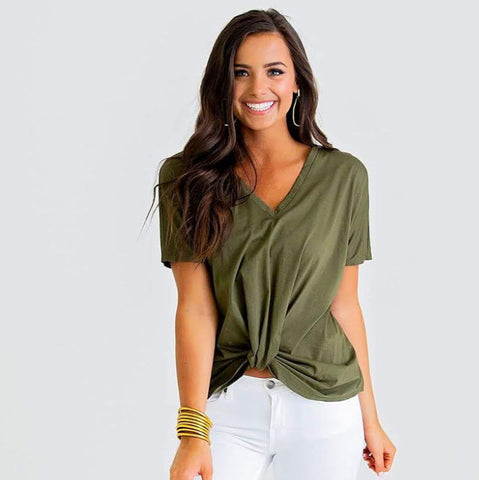Twisted Up Olive Tee
