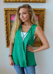 Green with Envy Sleeveless Top by Caramela at Charm Boutique in Gulf Shores