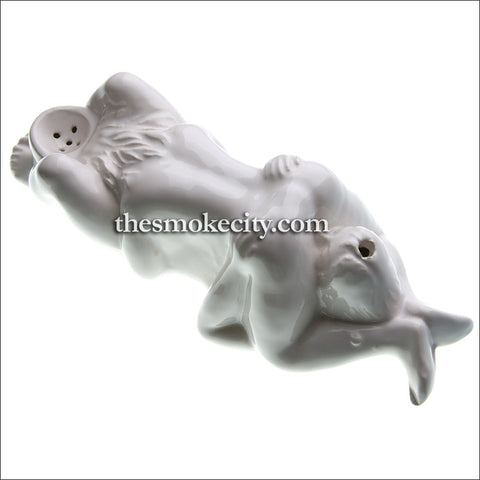 CR -1102 (Ceramic Lovers Figurine Pipe -White)