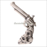 CR-1201 (10 inch White Ceramic Skull Revolver Gun Pipe)