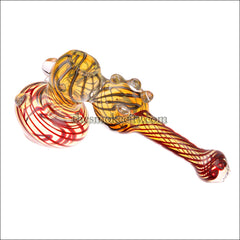 HM-1202 (7 Inch maroon yellow Hammer Bubbler Pipe)