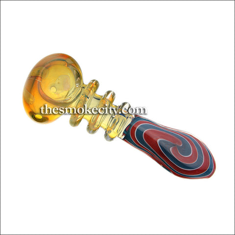 "Hand Pipe -1012 (5"" Yellow and multicolor swirl stem)"