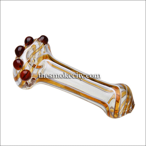 HP-1026 (5 inch Transparent and maroon Glass Hand Pipe)