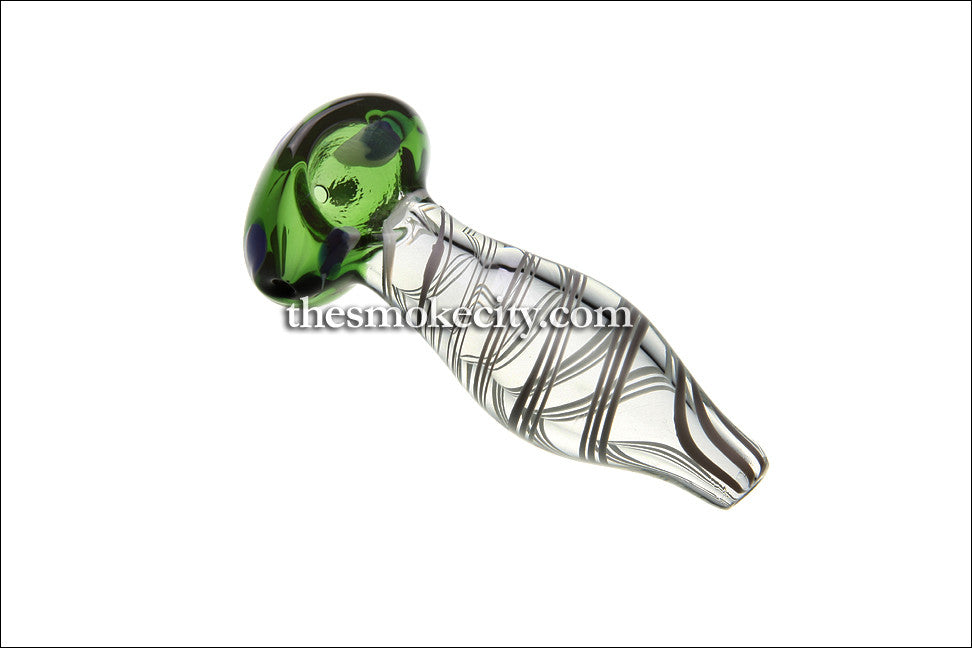 HP-1193 (4 inch Glass Hand Pipe Green and transparent spiral)