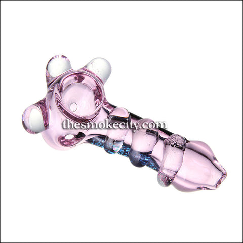 HP -1037 (4 inch Glass Hand Pipe Translucent Pink with Dicrho)