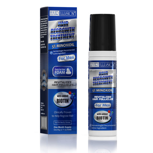 Hair Illusion - New Hair Growth Foam, 5% Minoxidil & Biotin Help prevent Hair Loss, Thinning Hair, Receding Hairline and balding do to Male Pattern Baldness, alopiecia and Stress