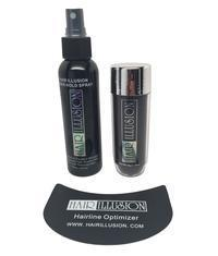 Hair Illusion Hair Fibers, Optimizer, Spray Combo for Concealing Bald Spots, Hair Loss, Thin Edges, Receding Hairlines and Alopecia - Hair Illusion Inc