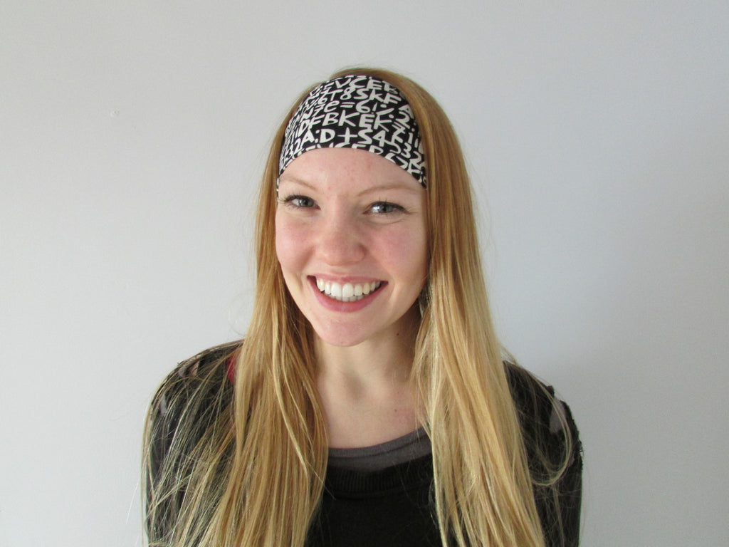 Extra Wide Yoga Headband - Black and White Numbers
