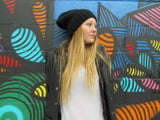 Slouchie Beanie - Black, Taupe, Speckled Gray