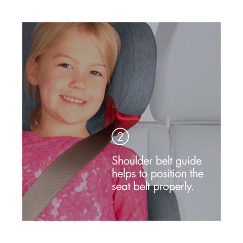 "A child in a grey and white high back booster seat with the text, ""2) Shoulder belt guide helps to position the seat belt properly."""