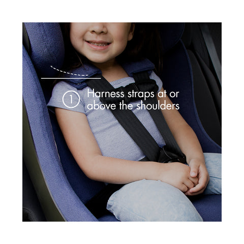 "Young child forward-facing in a purple Clek car seat with text ""harness straps at or above shoulders"""