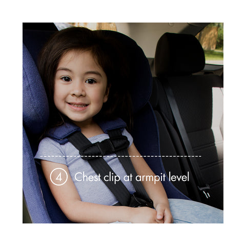 "Young child forward-facing in a purple Clek car seat with text ""chest clip at armpit level"""
