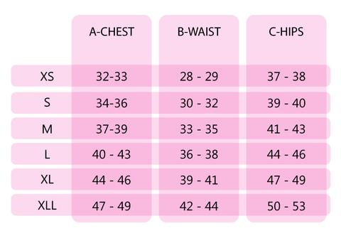Chart showing sizing for Momzelle shirts and dresses