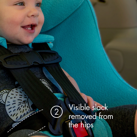 "Young toddler in a blue clek car sear text ""visible slack removed from hips"""