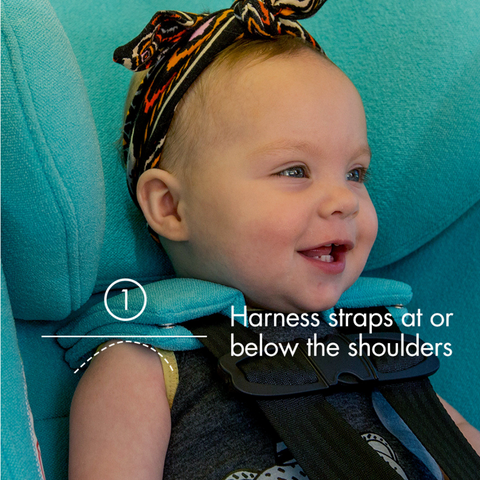 "Younf toddler in a blue clek car seat rear-facing with text ""harness straps at or below the shoulders"""