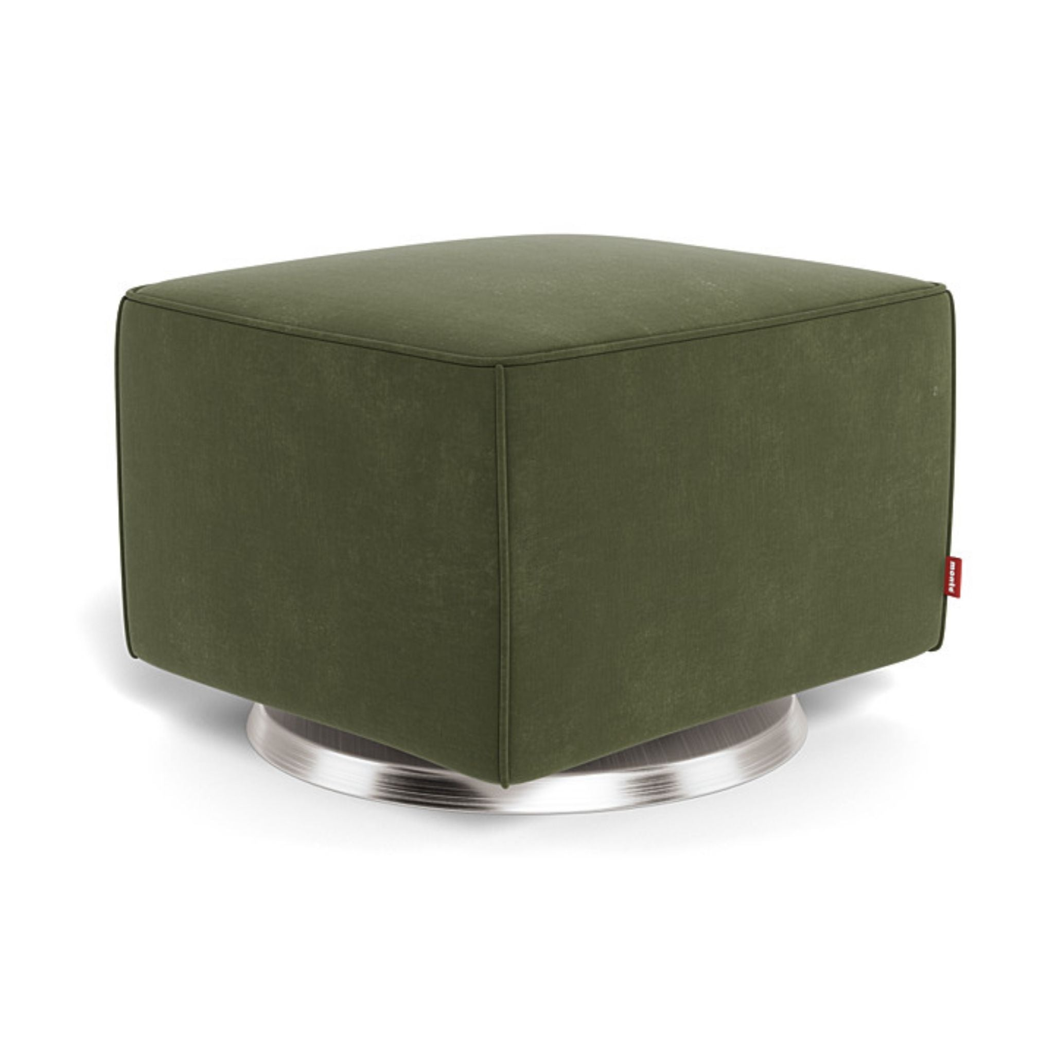 Luca Glider Ottoman | Stainless Steel Swivel Base