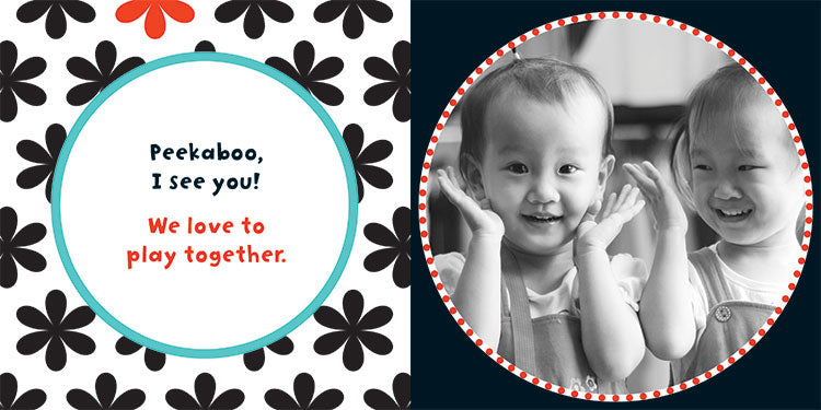 "Page of Baby Play with a photo of smiling toddlers and text that reads ""Peekaboo, I see you! We love to play together!"""