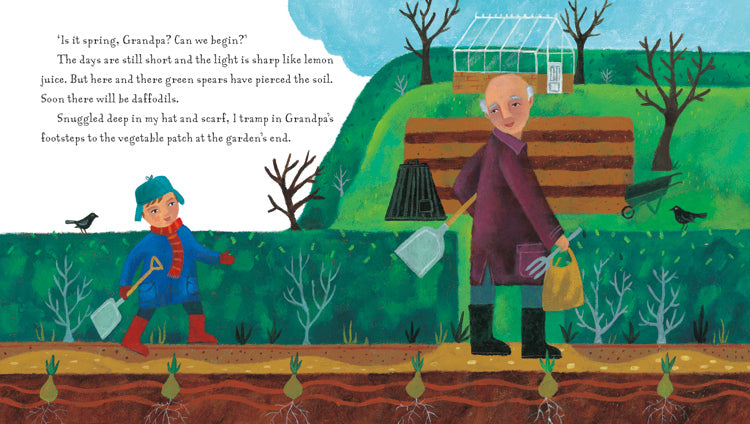Page of Grandpa's Garden brightly coloured illustration