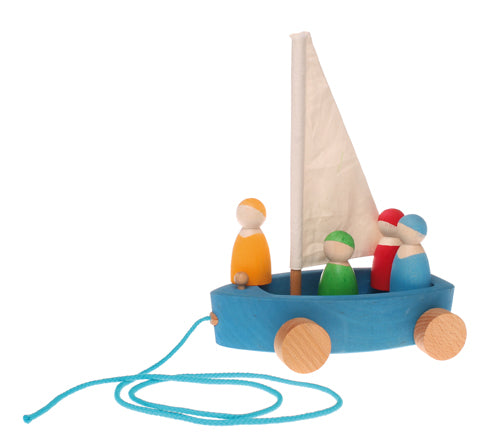 Grimm's Large Land Yacht Pull Toy With Four Sailors