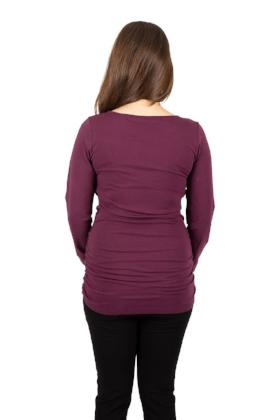 Back view of model wearing dahlia Momzelle Emma long sleeve nursing and maternity top available in Kingston, Ontario, Canada