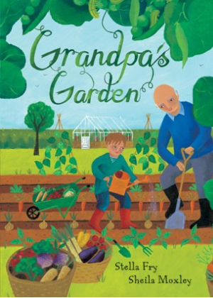 front cover of Grandpa's Garden paperback book showing an illustration of a kid and grandpa in a garden