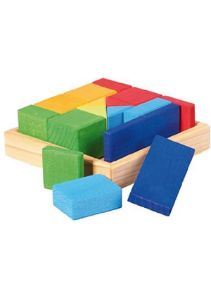 Gluckskafer multi-coloured construction shape blocks in a wooden tray