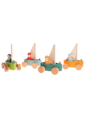 Grimm's Little Land Yacht Pull Toy With Sailors