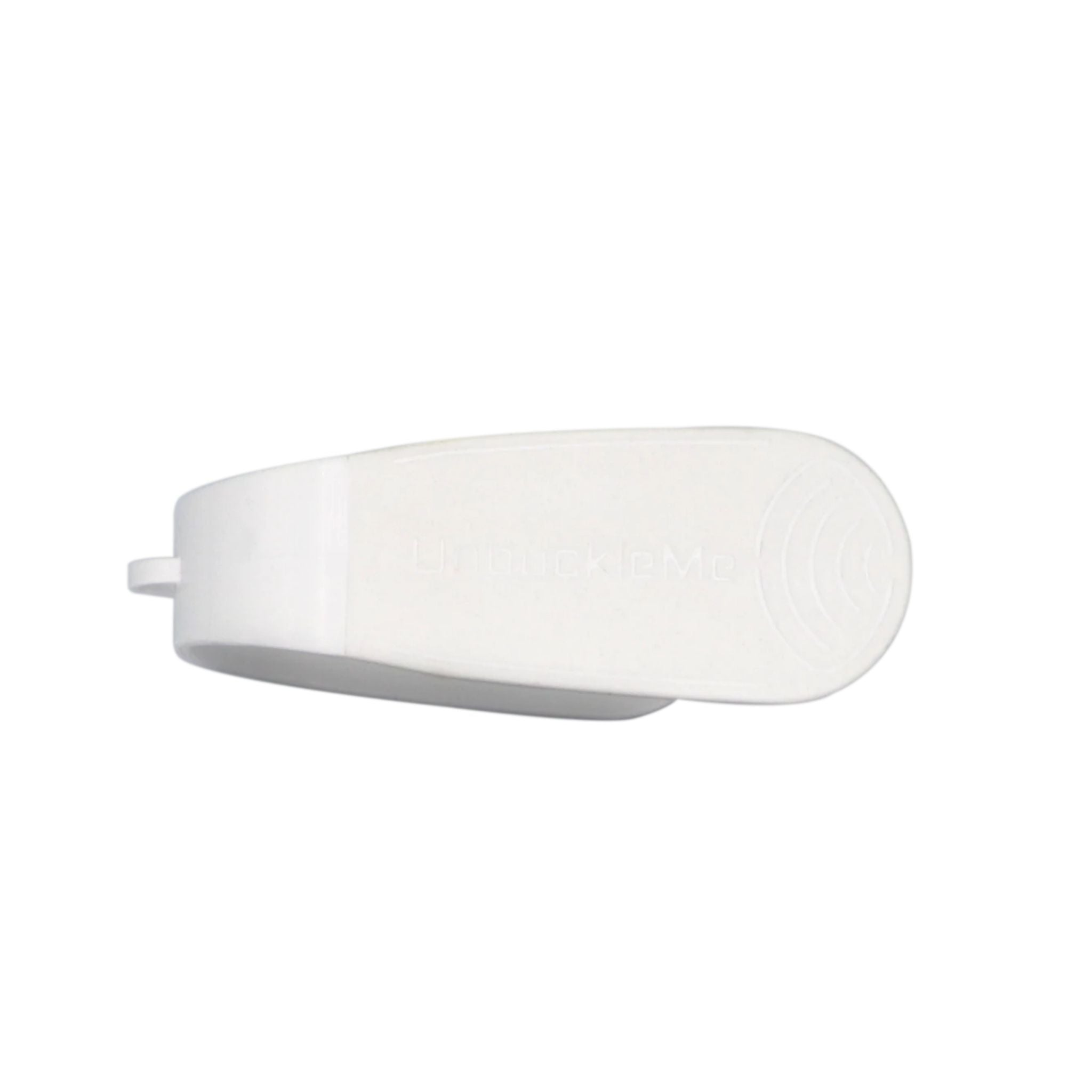 clek unbuckle me, white and off white rounded device for unbuckling car seat buckles