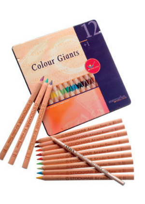 Mercurius Colour Giants Triangular Grip Pencil Crayons  -Go Green Baby