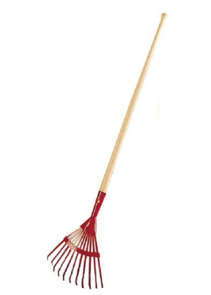 children's wooden handled leaf rake with red metal base available in Kingston, Ontario, Canada