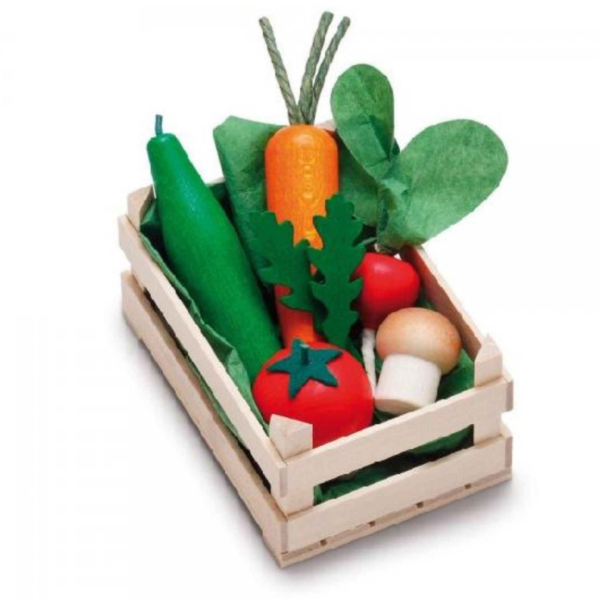 Assorted Wooden Vegetables in Crate  -Go Green Baby