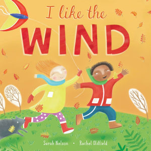 cover of I Like the Wind book shows two kids running with flying kite and leaves