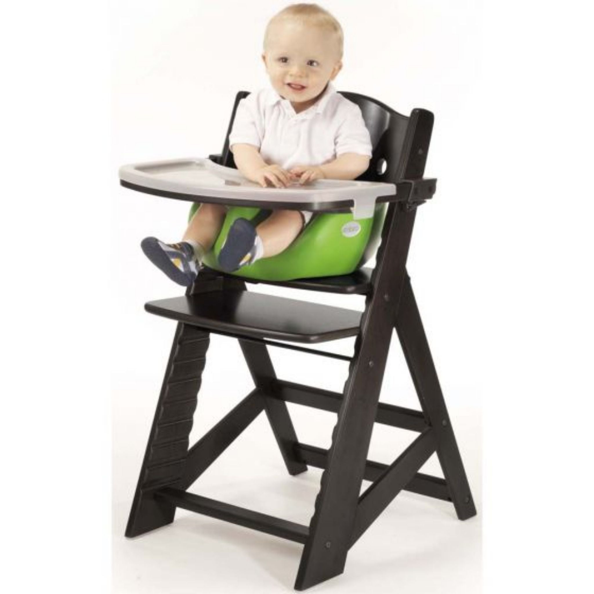 keekaroo adjustable high chair with infant insert and tray espresso black coloured wood chair lime bright green infant insert