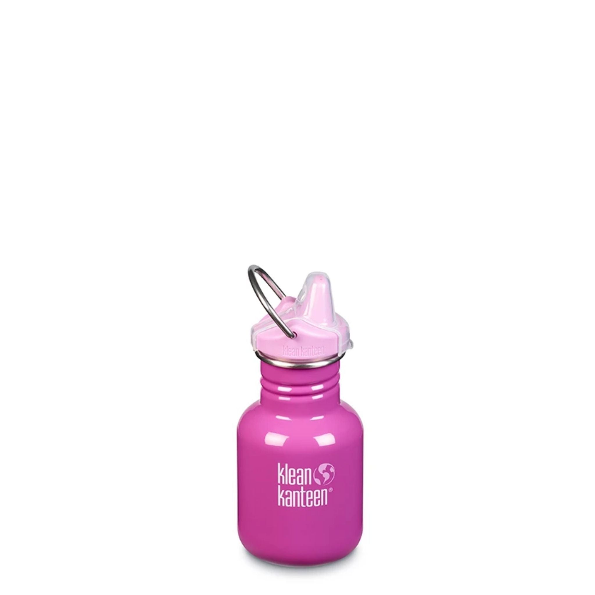 klean kanteen 12 oz sippy bottle bubble gum bright pink with words klean kanteen and globe logo engraved on side in white, light pink sippy lip with clear cover and metal loop handle