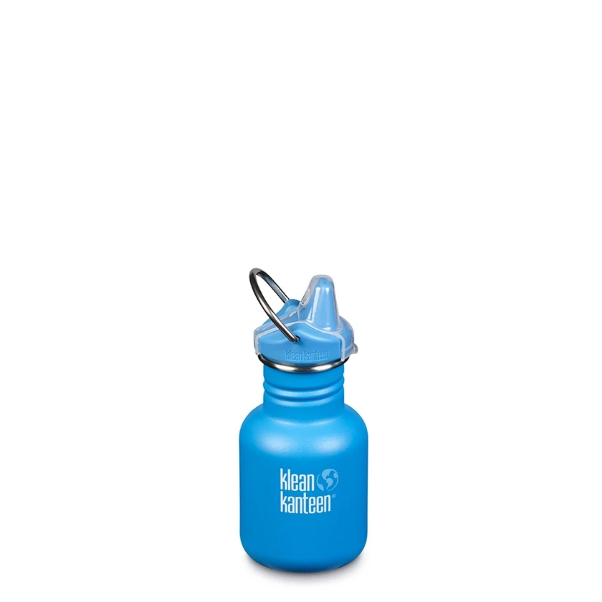 klean kanteen 12 oz sippy bottle pool party medium blue with words klean kanteen and globe logo engraved on side in white and blue, blue sippy lip with clear cover and metal loop handle