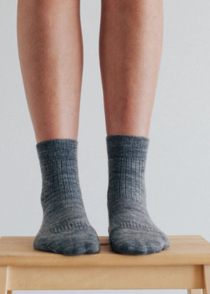 Lamington Merino Wool Rib Crew Socks - Grey  -Go Green Baby