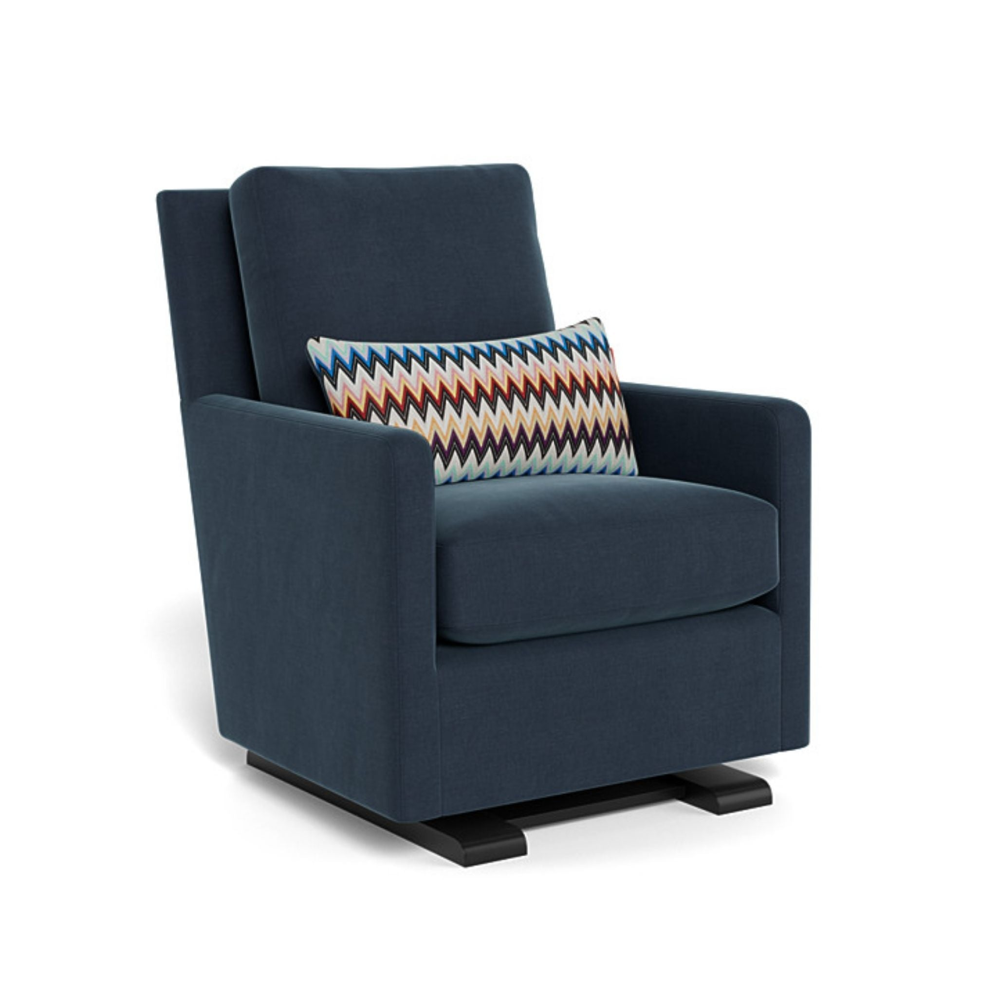 monte como glider midnight dark blue linen and missoni zigzag pillow espresso base