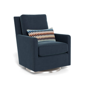 monte como glider midnight dark blue linen and missoni zigzag pillow stainless steel swivel base