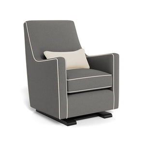 monte luca glider dark grey wool with beach off white linen piping and pillow espresso base