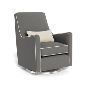 monte luca glider dark grey wool with beach off white linen piping and pillow stainless steel swivel base