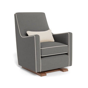 monte luca glider dark grey wool with beach off white linen piping and pillow walnut base