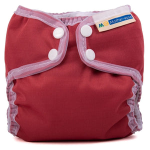Organic All in One Diaper - Wizard Uno  -Go Green Baby mother ease organic wizard uno all in one cloth diaper cranberry deep red with white trim, logo on tag, newborn size